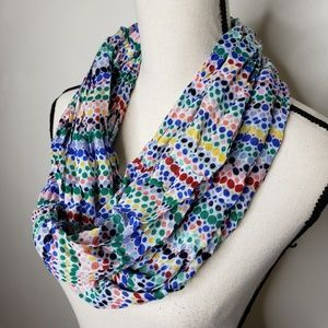 Talbots Infinity Scarf Multicolored Polka Dots
